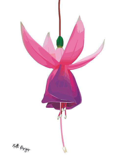 Fuchsia Fairy A6 Printed Card with gold envelope