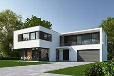 Esterno della moderna casa suburbana