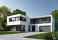 Exterior de la casa suburbana moderna