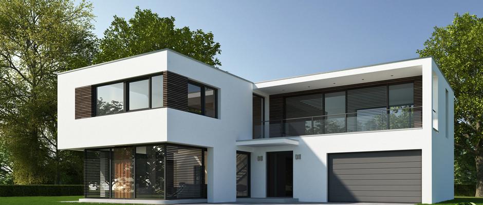 현대 교외의 집의 외관