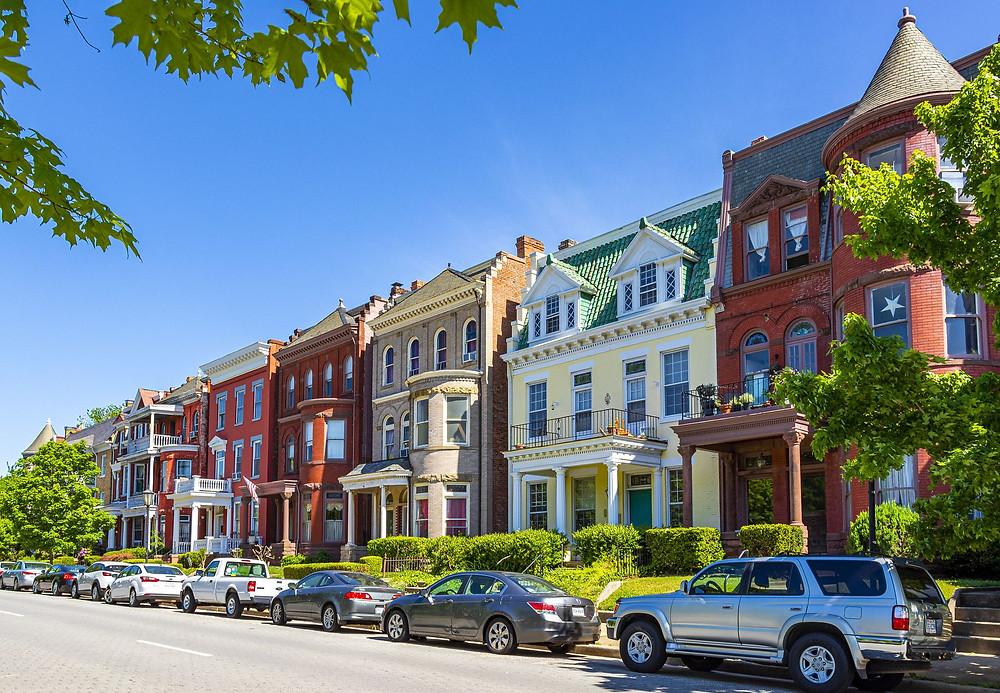 Casas em Richmond. Centro histórico. Richmond. Paisagem.