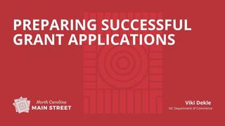 Preparing Successful Grant Applications
