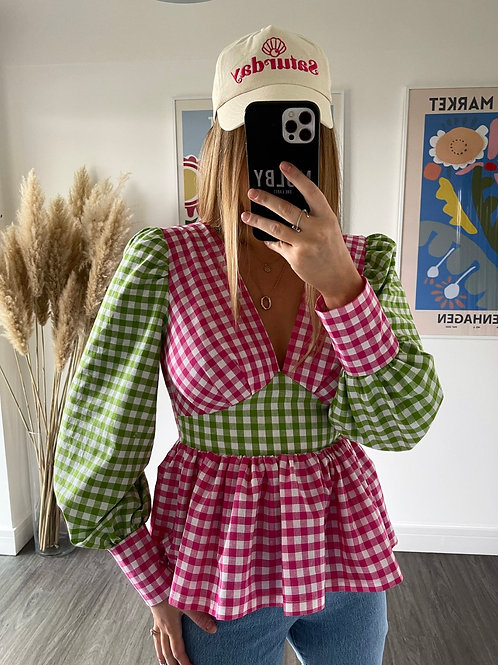 Tilda Top - Pink/Green
