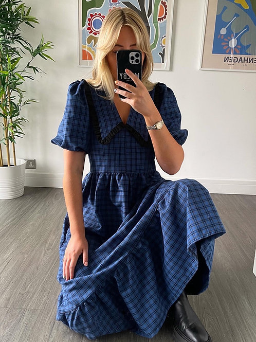 Bertie Dress - Navy Tartan