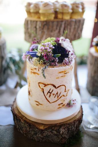 Intimate Birch Tree Wedding Cake