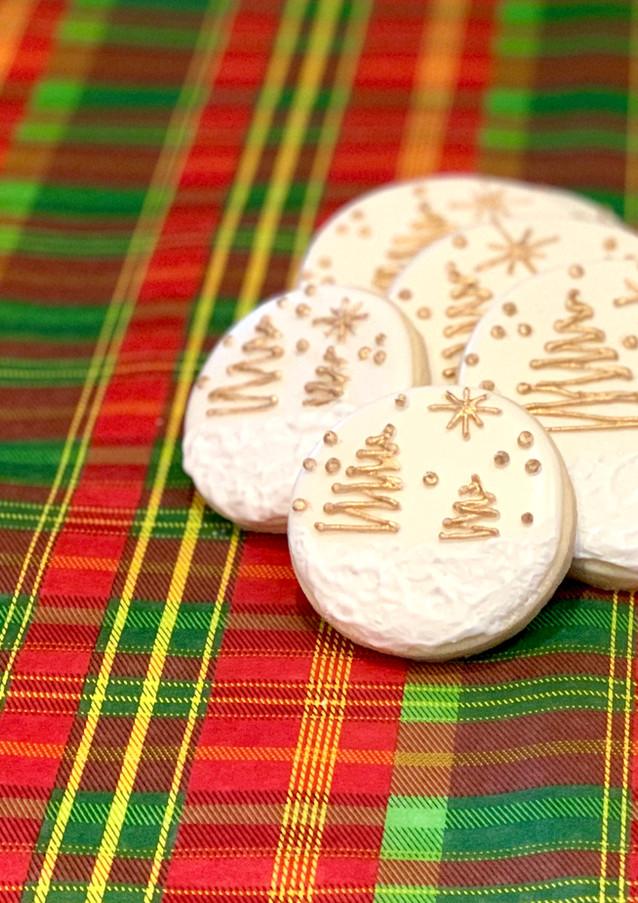 Gold Christmas Tree Cookies.KCB