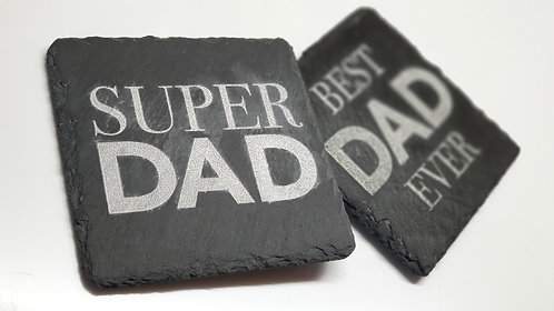 Engraved slate fathers day COASTER