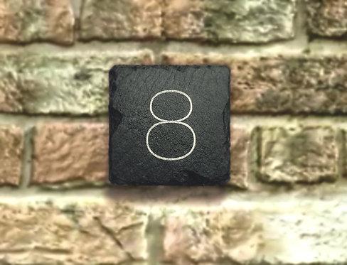 Engraved slate door number