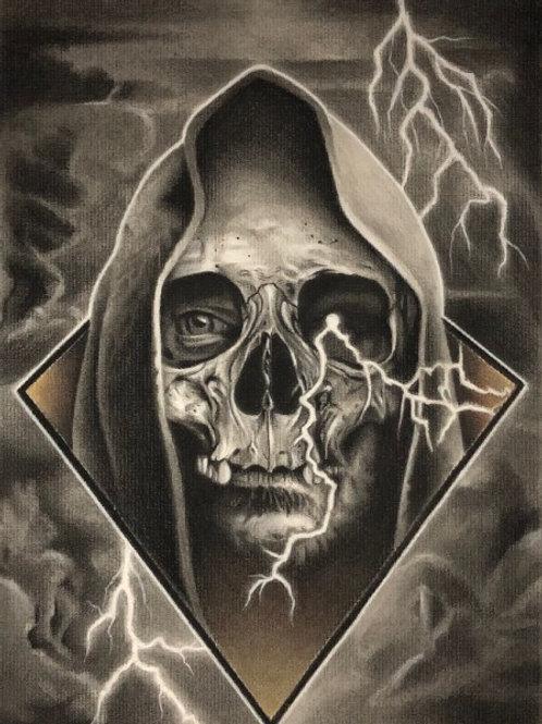Hood Skull Charcoal Print