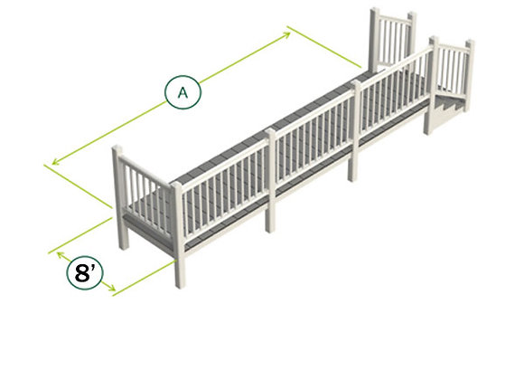 8' Side UPVC Decking Kit with Steps