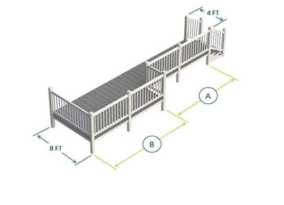 P Shaped uPVC Decking Kit with Steps