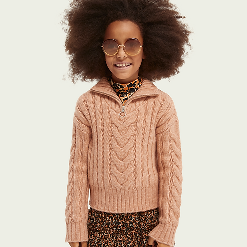 Pull tresses half zip cropped knit SCOTCH AND SODA