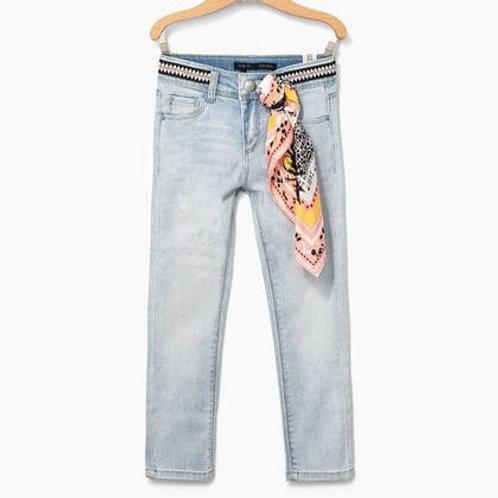 Jeans slime white blue 7/8 galon ceinture IKKS