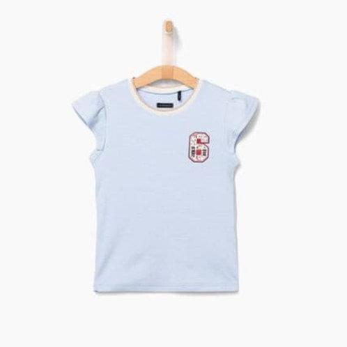 T-shirt bleu ciel à manches volantes IKKS