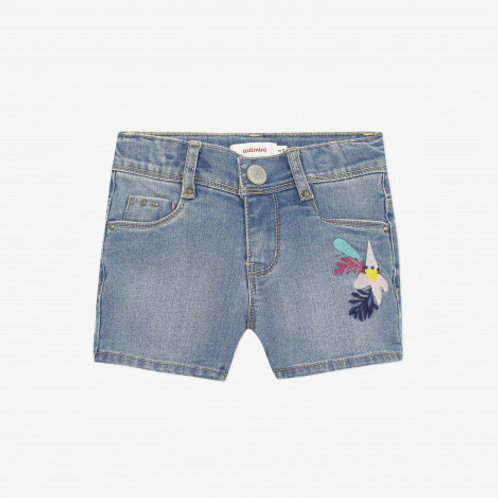 Short denim fille broderie