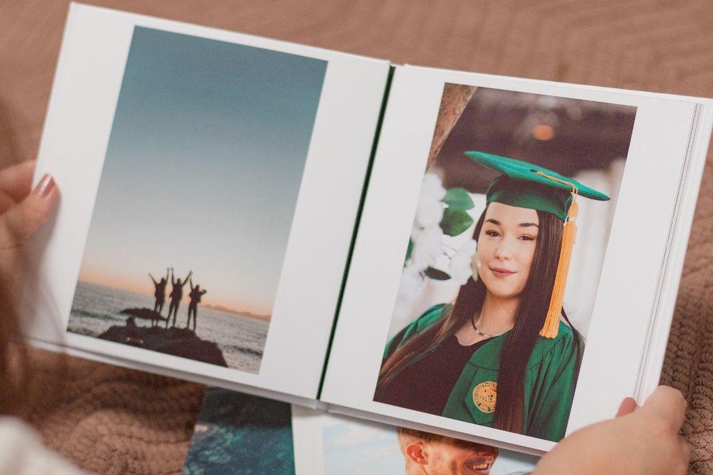 looking through graduation photos