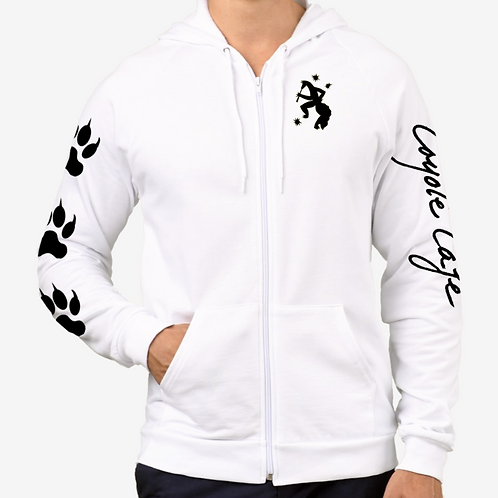 Coyote Cafe Men's White Long Sleeved Zippered Hoodie