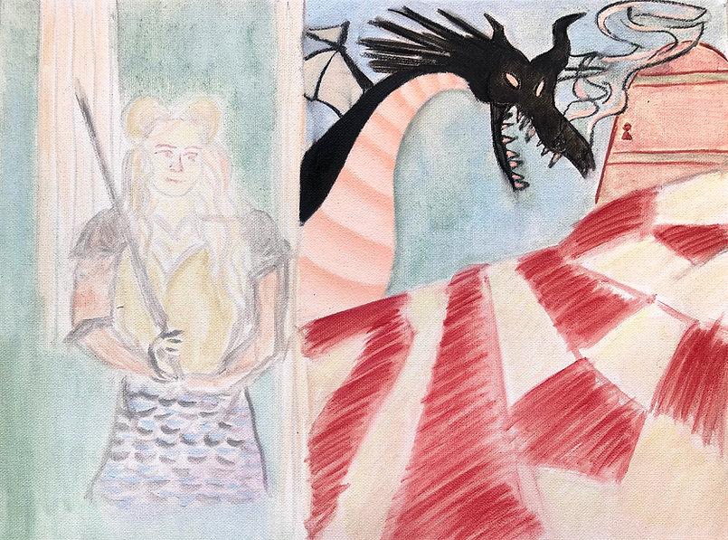 Jazmin Donaldson, paintings, mythology, myths, fairy fales, Somewhere near the centre of the Earth.j