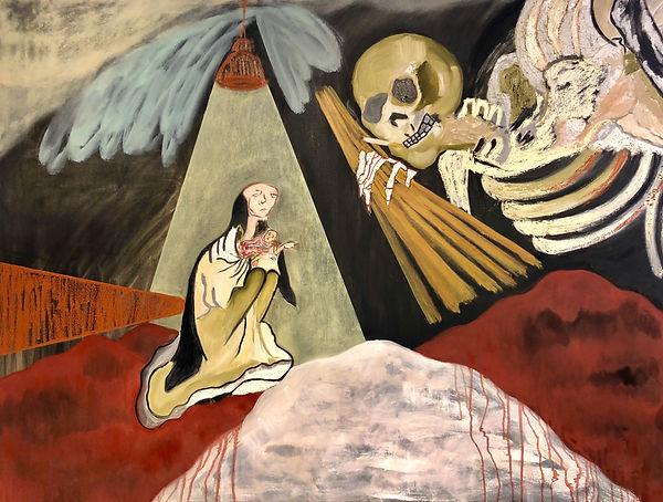 Jazmin Donaldson, paintings, mythology, myths, fairy fales, folklore, oil painting, Death, Baby, Motherhood, Old, Body Decay