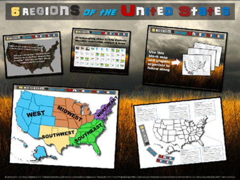 5 Regions of the United States Map Activity