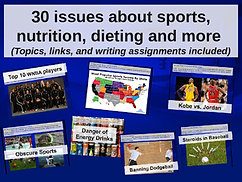 30 issues on sports, nutrition, dieting & more (links, writing prompts included)