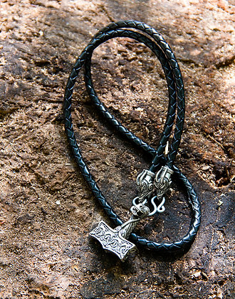 Oseberg Mjolnir Leather Necklace