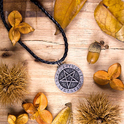 Pentagram with Runes Pendant