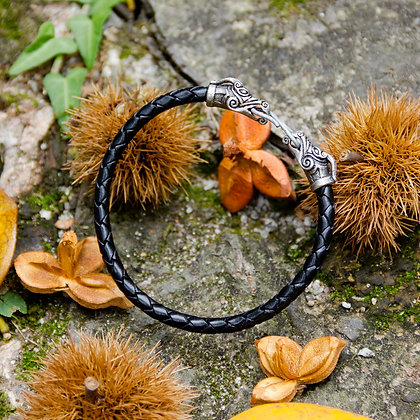 Dragon Torques Leather Bracelet