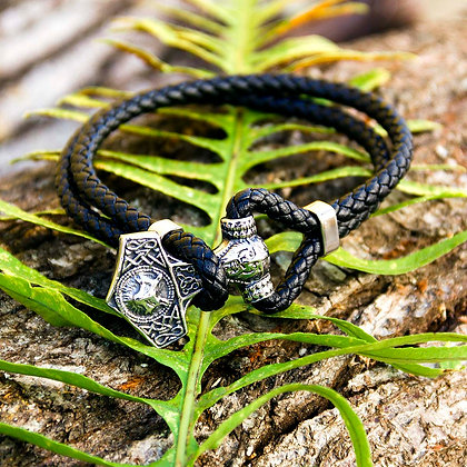 Mjolnir Odin Leather Bracelet