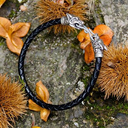 Wolf Torques Leather Bracelet