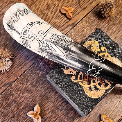 Viking Raven Engraved Horn