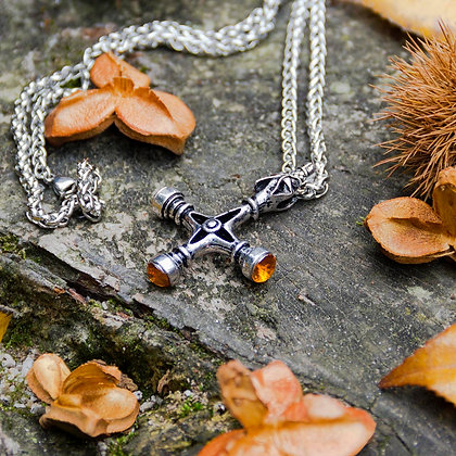 Amber Wolf Cross Necklace