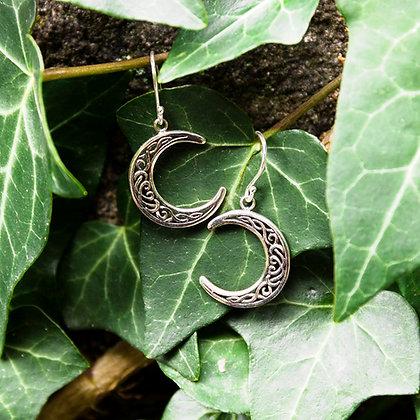 Celtic Moon Earrings [Silver]
