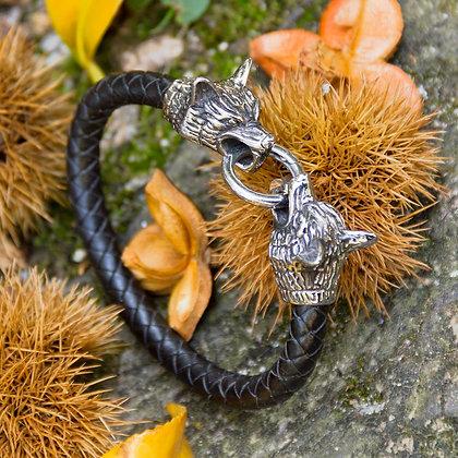 Wolf Bracelet [Leather + Steel]