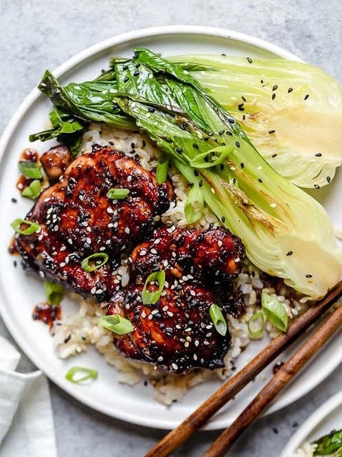 Asian Glazed Chicken with Cauliflower Rice & Steamed Bok Choy - 7 Points, 331 Ca