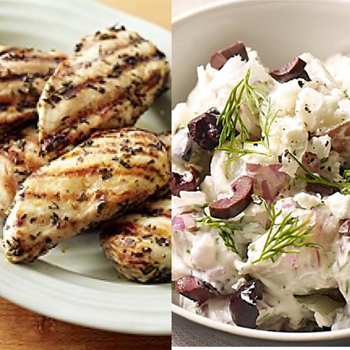 FS, Serves 4-6 - Lemon & Herb Marinated Chicken with Greek Style Potato Salad