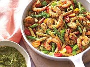 FS Serves 4-Spinach Pesto Pasta with Shrimp, Mixed Salad, & French Bread