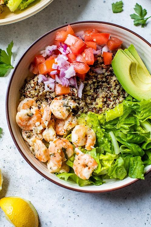 Lemon Chili Shrimp Quinoa Bowl - 8B, 10G, 4P 484 Calories