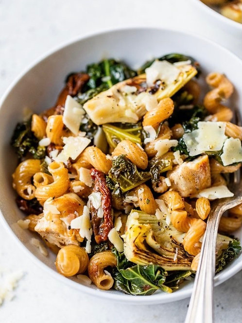FS, Serves 4-Chicken and Artichoke Cavatappi w/Mixed Salad
