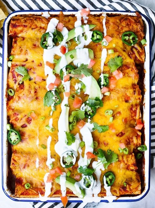 FS, Serves 6 - Chicken Enchiladas w/Pinto Beans & Cilantro Rice