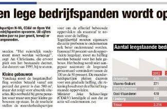 Vlaams Parlement voert strijd tegen leegstaande bedrijfsruimte op