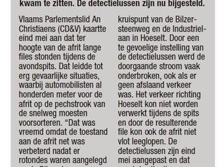 Detectielussen afrit 31 Bilzen-Hoeselt bijgesteld om file te verhelpen