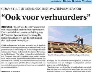 CD&V wil renovatiepremie uitbreiden