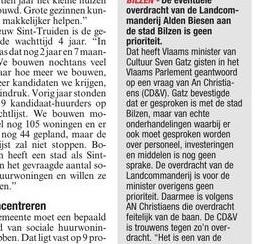 Overdracht Alden Biesen geen prioriteit voor Gatz