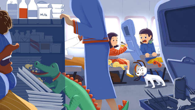 A story about the boy accidentally bring his pet— alligator— on the airplane