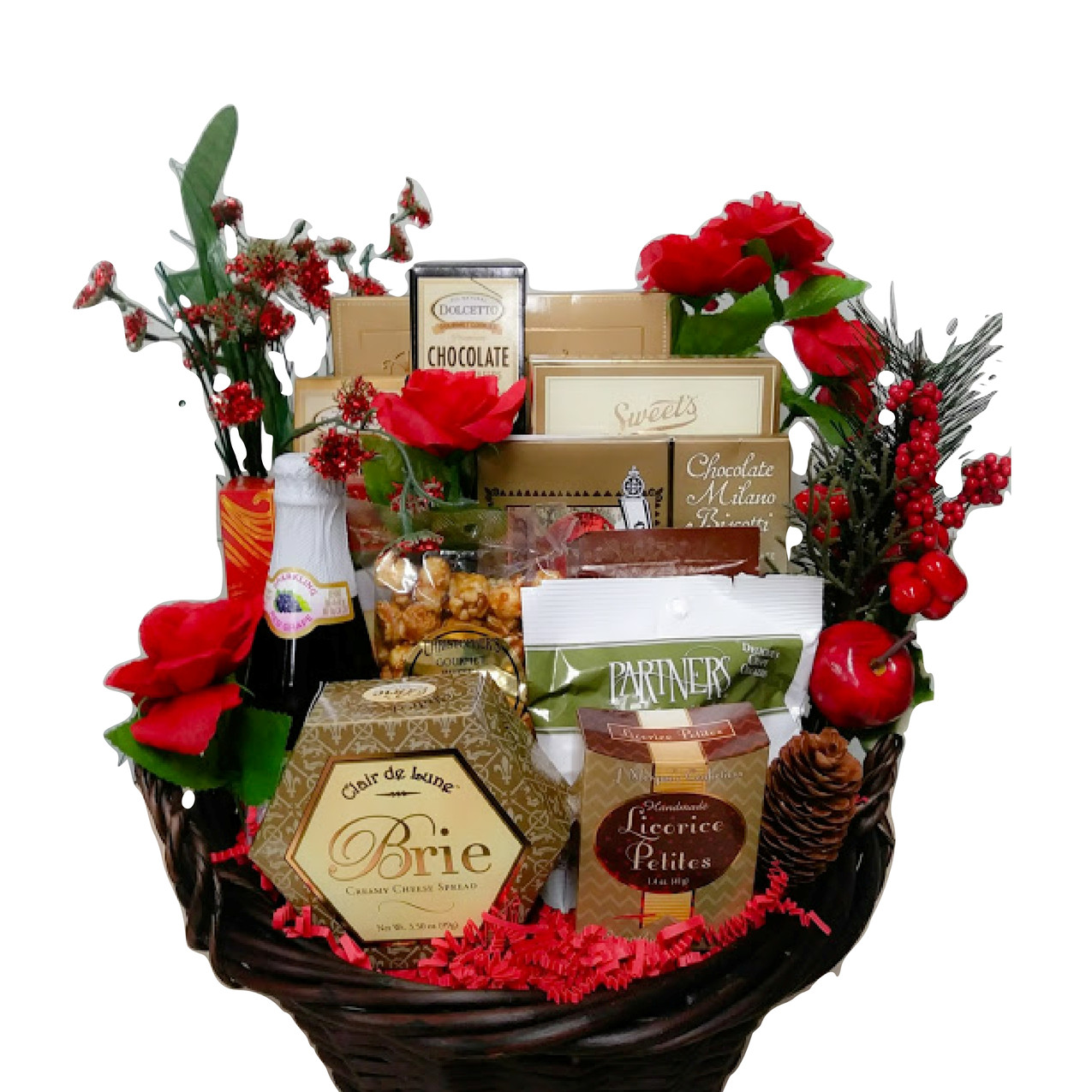 Holiday Delight Celebrate the season with these gourmet treats: sparkling cider, pretzels, garlic crackers, chocolate bits and bites, wafer rolls, almonds, mixed nuts, Brie cheese and more! ($45.00, shown)  ORDER NOW!