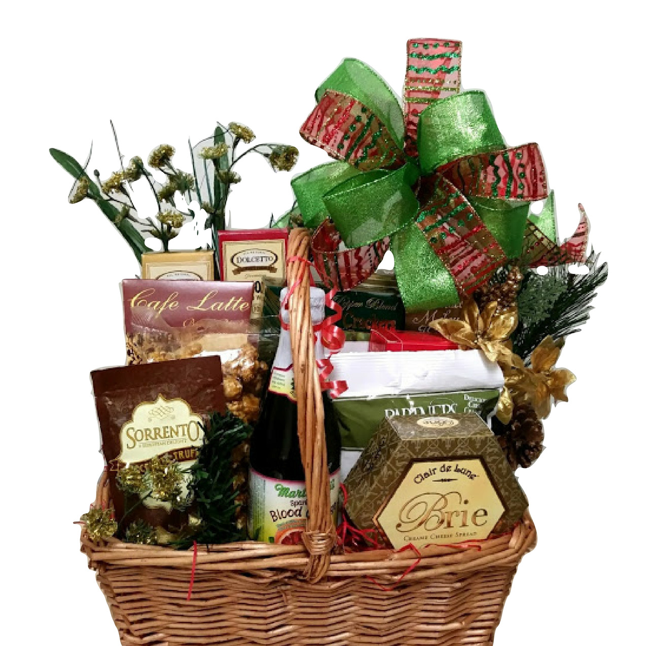 Christmas Blessings This gift basket is complete with a variety of gourmet snacks such as cocoa, cheese, coffee, cookies, crackers, chocolate wafers, popcorn, bruschetta and more!  ($50.00, shown)  ORDER NOW!
