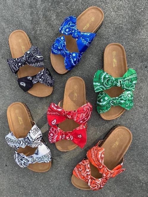 bandana-print sandals