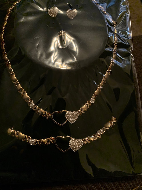 Heart of ice 24k gold plated jewelry set