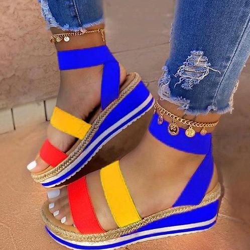 Open Toe Platform Ankle Strap Elastic Band Color Block Platform Sandals